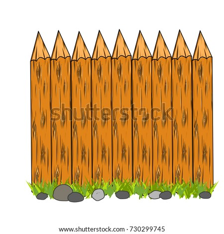 Cartoon Wooden Fence Fortification Wall Beam Stock Vector - Cartoon fence clip art