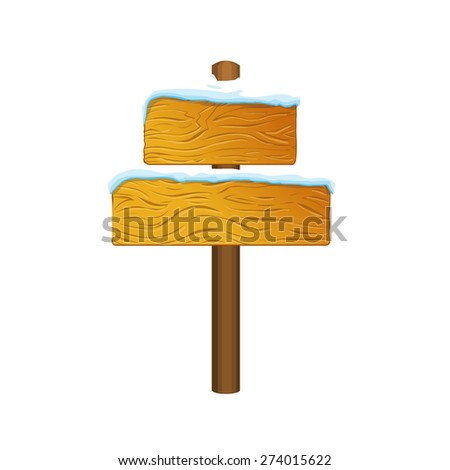 Cartoon wooden sign. Vector illustration isolated on white - stock vector