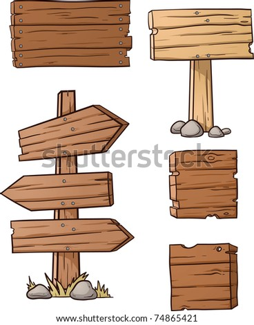 Cartoon wooden signs. Vector illustration with simple gradients. All elements in separate layers for easy editing.