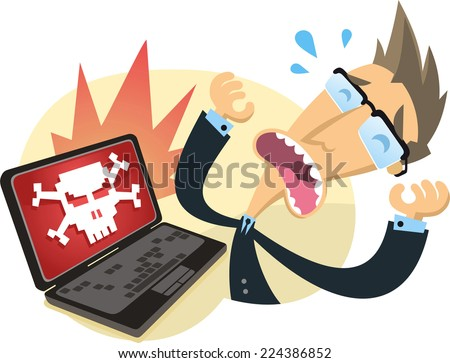 cartoon worker agony when his computer was hacked. - stock vector