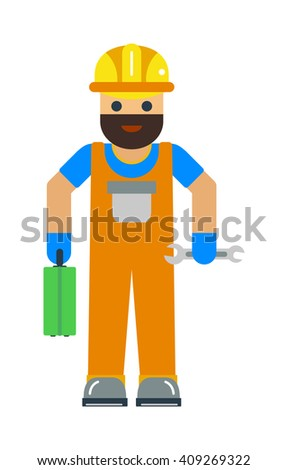 Cartoon worker character illustration. Smart worker cartoon character illustration. Cartoon worker professional man with a mustache in a yellow helmet and in a red suit. Cartoon worker. - stock vector