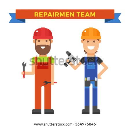 Cartoon workers couple and tools under construction vector illustration. Vector cartoon flat people under construction isolated on white background - stock vector