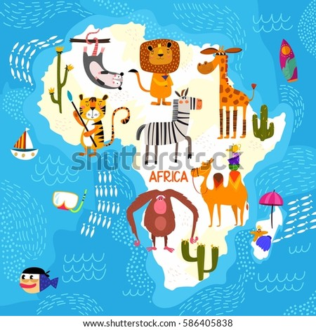 Cartoon World Map Traditional Animals Illustrated Stock Vector - Map of africa for kids