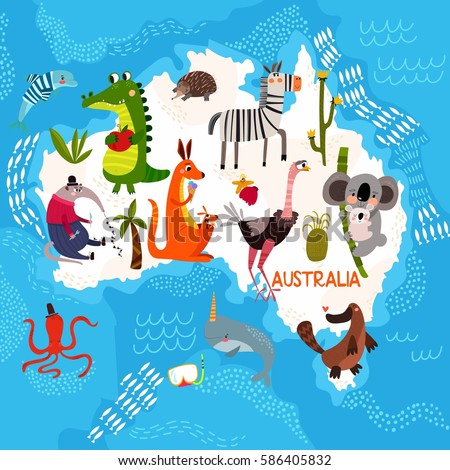 cartoon world map with traditional animals illustrated map of australiavector illustration for children