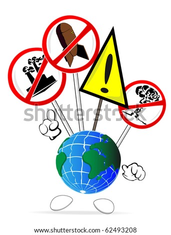 cartoon world with posters of protests and warning - stock vector