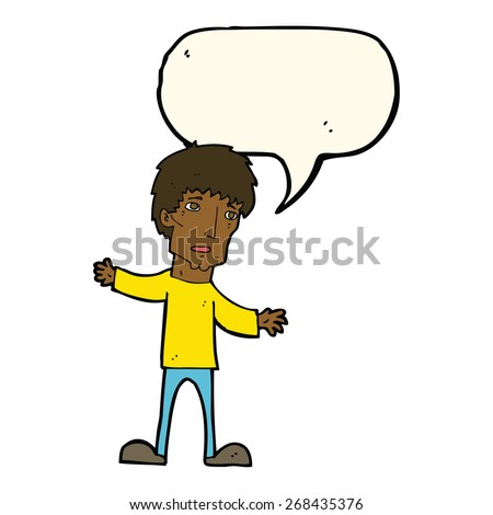 cartoon worried man with speech bubble - stock vector