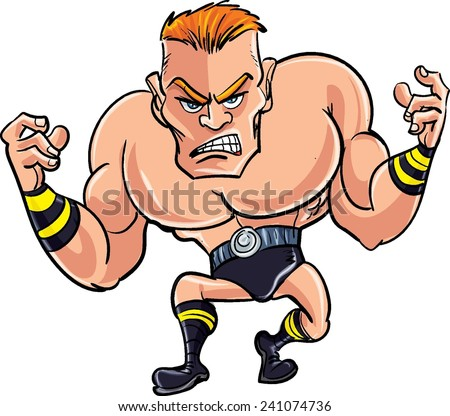 Cartoon wrestler ready to fight. Isolated on white - stock vector