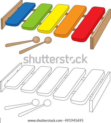 Cartoon Xylophone Coloring Book Isolated On White