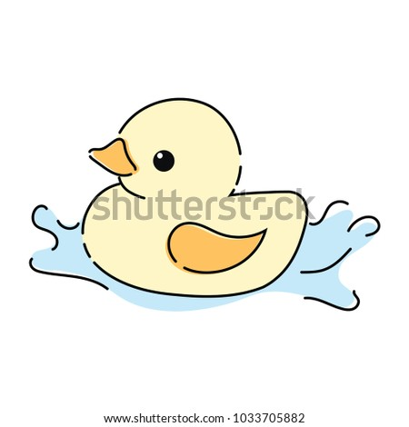 Cartoon Yellow Duckling Toy For The Bathroom Drawing Children
