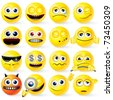 Cartoon Yellow Smiley Balls with positive and negative emotions, gestures, poses - detailed vector set for your design - stock photo