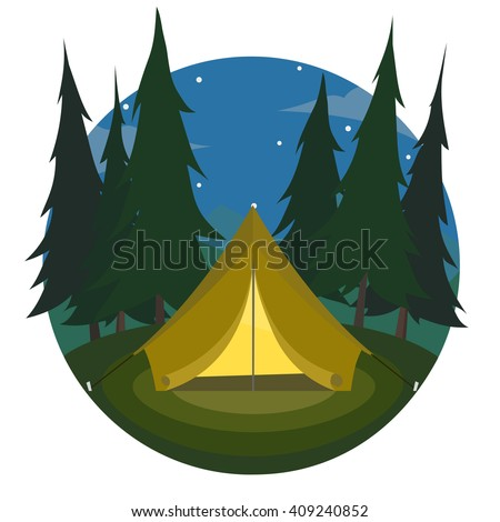 Cartoon yellow tent on night landscape of trees and mountains icon. sports tourism in nature  sc 1 st  Shutterstock : cartoon tent images - memphite.com
