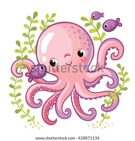 Cartoon young octopus surrounded by small sea fish and seaweed. Vector illustration in cartoon style for summer sea theme.