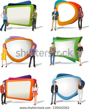 Cartoon young people in front of colorful screens - stock vector