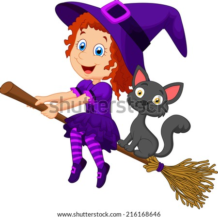 Cartoon young witch flying on her broom - stock vector