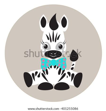 Cartoon Zebra. Vector illustration of cute zebra. Cartoon cute zebra with bow Fun zoo. Childish illustration - stock vector