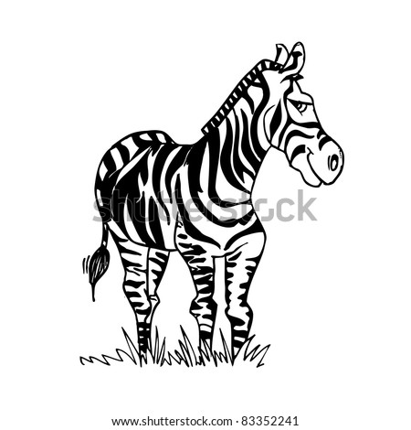 Cartoon Zebra with a smiling face. Isolated on white