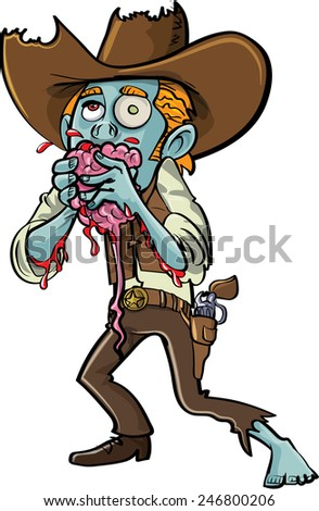 Cartoon zombie cowboy eating a brain. Isolated - stock vector