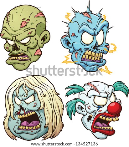 Cartoon zombie heads. Vector clip art illustration with simple gradients. Each on a separate layer. - stock vector