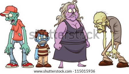 Cartoon zombies. Vector illustration with simple gradients. All in a single layer. - stock vector