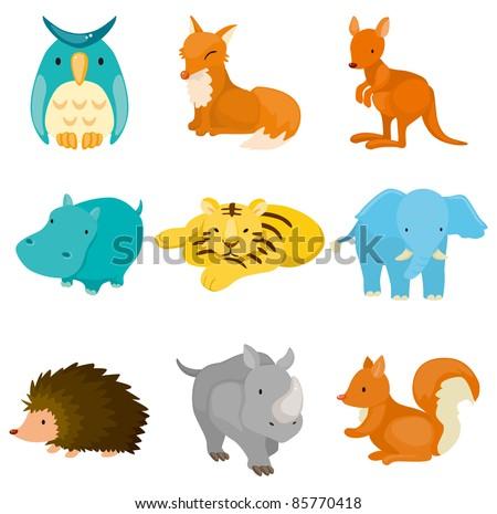 cartoon zoo animal icons - stock vector