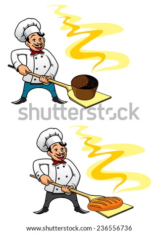 Cartooned baker holding bakery peel tool with cupcake and bread. For food and nutrition design - stock vector