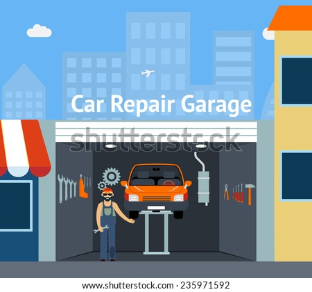Cartooned Car Repair Garage  with Signage  Graphic Design with Repairman, Car and Set of Tools - stock vector