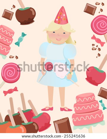 Cartooned Graphic Design of Happy Young Girl with Party Hat and Holding Candies Surrounded with Sweets on a Very Light Brown Background. - stock vector
