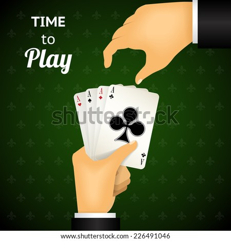 Cartooned Hand Playing Cards with Four Aces  Emphasizing Time to Play  on Green Patterned Background. - stock vector