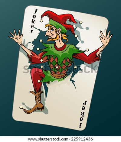 Cartooned Joker Jumping Out of Playing Card on Blue Green Background.