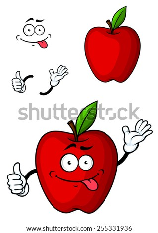 Cartooned red apple fruit character with funny face and hands - stock vector