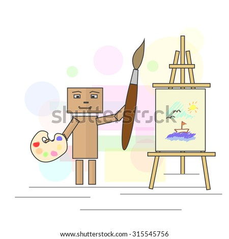 Cartoonist with watercolors and brush, painting a landscape on canvas. Image in vector format