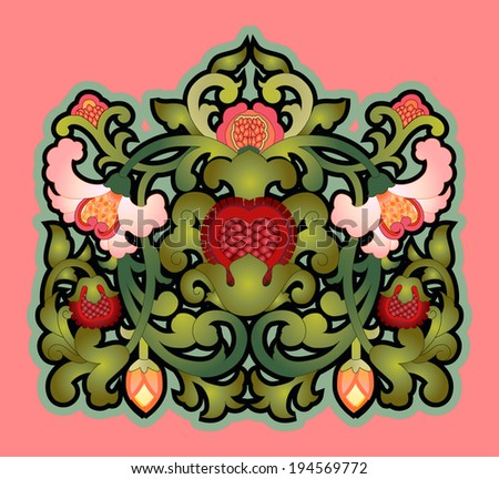 Cartouche with floral decoration - stock vector