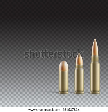 Cartridge with a bullet from a pistol, machine gun, and rifle isolated on transparent background. Photo-realistic illustration