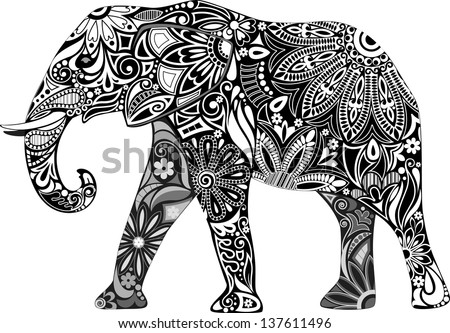 Carved elephant. - stock vector