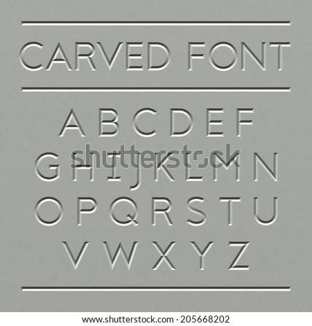 Carved font design. Vector. - stock vector