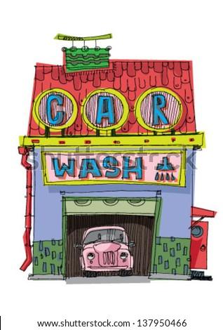 carwash station - cartoon - stock vector