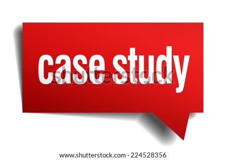 case study red 3d realistic paper speech bubble - stock vector