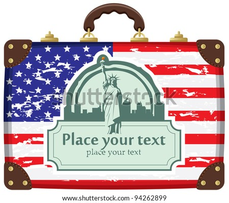 case with American flag and Statue of Liberty in background on New York City - stock vector
