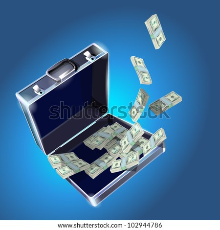 case with dollars money concept vector illustration EPS10. - stock vector