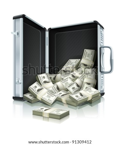 case with dollars money concept vector illustration isolated on white background. EPS10. - stock vector
