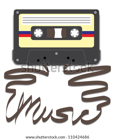 Casette tape with tape pulled out to spell Music.