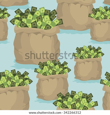Cash bag seamless background. Pattern of dollars of money. Ornament of wealth and luxury.