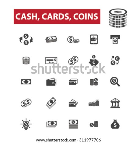 Cash, cards, coins concept icons: money,  cash register,  stack of cash,  dollar,  cash icon,  pile of cash,  dollar bill, credit card,  gift card,  bank,  visa,  stack of coins,  wealth. Vector - stock vector