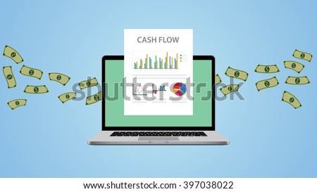 cash flow illustration with laptop money and graph chart - stock vector