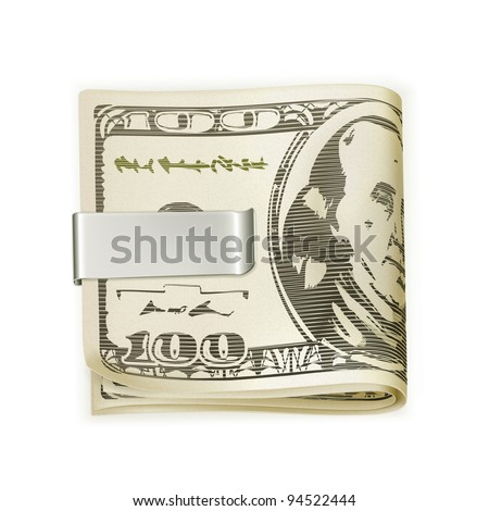 Cash folded in a money clip, vector