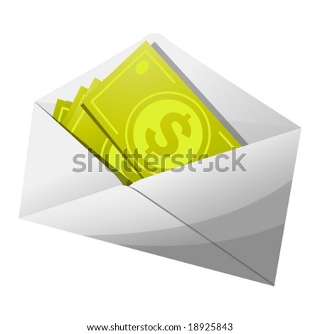 Cash in an unmarked envelope - stock vector