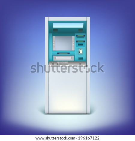 Cash machine closeup, for your design and business. ATM isolated on background - stock vector