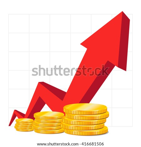Cash on growth. Red Arrow. Coins. The concept of business success, financial growth chart, analysis, presentation symbol, isolated on white background. Vector illustration. - stock vector