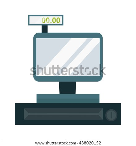 Cash register touch screen vector. Bank financial calculator sell supermarket store cash register. Store cash register sale money electronic paying counter machine. Payment purchase checkout. - stock vector
