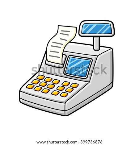 Cash register with a receipt. - stock vector